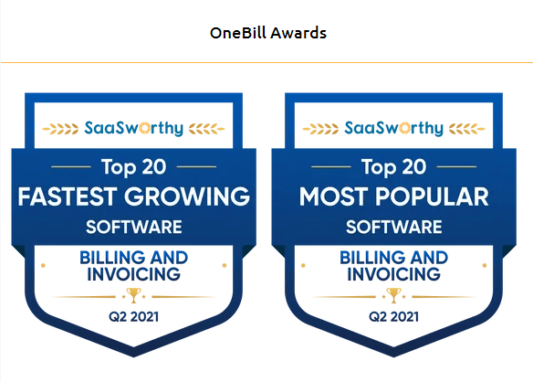 SaaSworthy Awards OneBill