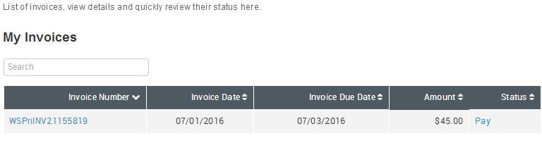 Selfcare Portal Invoices